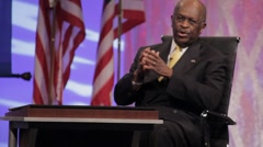 "Presidential Candidate Herman Cain - ""Comments on TARP"" - Sit down - stock footage"