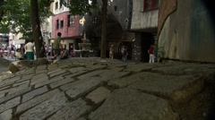 The famous and colorful Hundertwasserhaus in Vienna Stock Footage