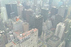 Aerial shot of midtown Manhattan including the GE building Stock Footage