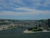Stock Video Footage of Pittsburgh skyline seen from Mt. Washington looking up Allegheny, Monongahela