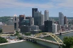 Pittsburgh skyline seen from Mt. Washington looking up Monongahela Stock Footage