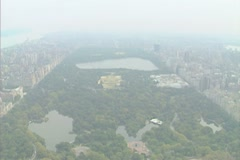 Aerial shot of Central Park looking north towards the Bronx Stock Footage