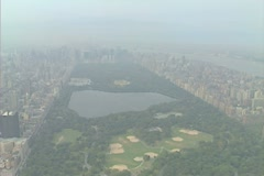 Aerial shot looking south over Central Park Stock Footage