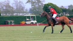 POLO PLAYER WHACKS BALL - stock footage