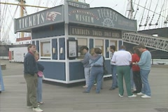 People buying tickets for the South Street Seaport Museum Stock Footage