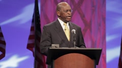"Presidential Candidate Herman Cain - ""entitlement spending"" speech - stock footage"