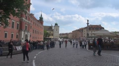 Castle Square Old Town Warsaw Poland People tourist pass walk relax day enjoy - stock footage