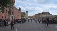 Castle Square Old Town Warsaw Poland People tourist pass walk relax day enjoy Stock Footage