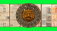 Stock Video Footage of Big 2012-Rotating Mayan Doomsday Calendar+Dresden Codex-Green Screen