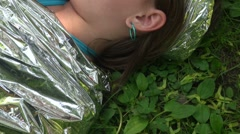 The head of the girl on the grass - stock footage