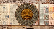 Stock Video Footage of Big 2012-Rotating Mayan Doomsday Calendar+Dresden Codex