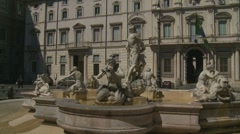 Glidecam P. Navona fountain, Rome Stock Footage