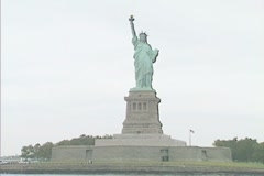 Statue of Liberty from a sighseeing boat Stock Footage