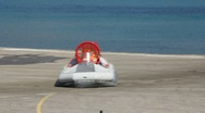 Stock Video Footage of Boat hovercraft u-turn on the beton surface