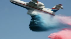 Firefighter demonstration bomber water colour russian flag Stock Footage