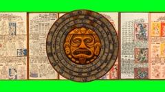 Mayan 2012 Doomsday Rotating Calendar+Dresden Codex-Green Screen Stock Footage