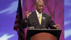 "Presidential Candidate Herman Cain - ""Program for workers in Chili"" speech - stock footage"
