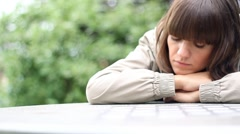 Young beautiful sad woman portrait, dolly shot HD Stock Footage