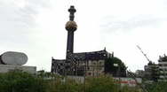 Artistic waste incineration which is a famous landmark in Vienna. Stock Footage