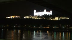 Hrad castle with river Danube at night Stock Footage