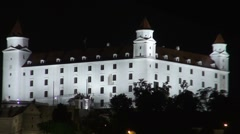 Hrad  castle  at night Stock Footage