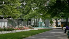 Gateway center  fountain area in downtown Pittsburgh Stock Footage