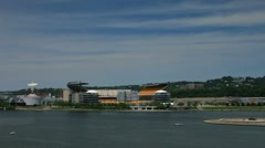 Stock Video Footage of Pittsburgh Heinz field and Carnegie Science Center