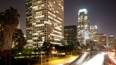 Timelapse of traffic on freeway in downtown los angeles Stock Footage