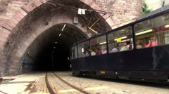 Tramway enters in a tunnel,Bratislava city Stock Footage
