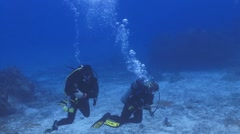Two divers pointing to camera Stock Footage