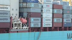 Cargo containers on ship P HD 0197 Stock Footage