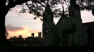Singing in a Sri Lankan church at sunset Stock Footage