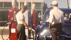 PUMPING Gas Service Station ATTENDANT Man 1940s Vintage Film 8mm Home Movie 175 - stock footage