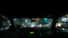Timelapse Taxi Cab Ride at Night Stock Footage