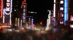 Vancouver, Canada Night Crowd (blurred) on Granville Street Stock Footage