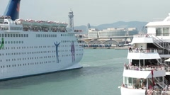 Cruise ships passing Barcelona Port HD Stock Footage