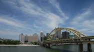 Stock Video Footage of Downtown Pittsburgh skyline and Ft. Pitt bridge