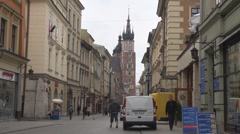 View to St. Mary's Basilica in Old Town, Krakow, Poland Stock Footage