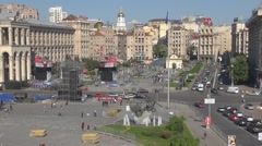 Square of independence in Kiev, Ukraine - stock footage