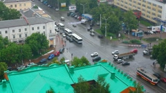 top view on city crossroad - stock footage