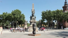 Barcelona Spain park statue bikes P HD 0121 Stock Footage