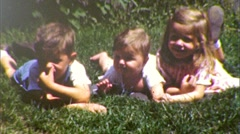 Brothers and Sister on Lawn KIDS Portrait 1950 (Vintage Film 8mm Home Movie) 198 Stock Footage