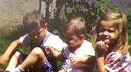 Happy Children Summer Lawn KIDS Portrait Child 1950s Vintage Film Home Movie 197 Stock Footage