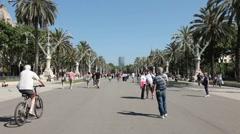 Barcelona Spain walk in park P HD 0117 Stock Footage