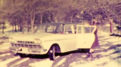 Icy Windows Woman Clears Rambler in the Snow 1950s Vintage Film Home Movie 188 Stock Footage