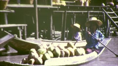 Floating Market Riverside Bangkok Circa 1970  (Vintage Film Home Movie) 184 - stock footage