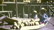 Stock Video Footage of Floating Market Riverside Bangkok Circa 1970  (Vintage Film Home Movie) 184