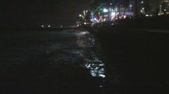 Beach Erosion Night Shot Stock Footage