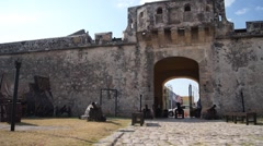 Gate of city wall in Campeche, Mexico Stock Footage
