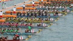 Dragon boat racers Stock Footage